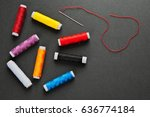 needle with thread and colorful ... | Shutterstock . vector #636774184