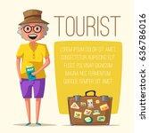 old couple in travel. journey... | Shutterstock .eps vector #636786016