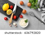 mayonnaise in bowl with... | Shutterstock . vector #636792820