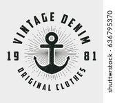 vintage denim print for t shirt ...   Shutterstock .eps vector #636795370
