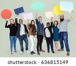 group of diverse people holding ... | Shutterstock . vector #636815149