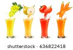 set of fruit juice splash in a... | Shutterstock .eps vector #636822418