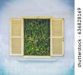 window with shutters and... | Shutterstock . vector #636828169