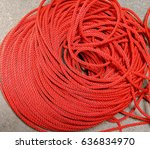 roll of red nylon rope on... | Shutterstock . vector #636834970