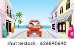 family driving in the seaside...   Shutterstock .eps vector #636840640