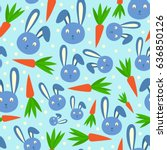 happy adorable rabbit cartoon...   Shutterstock .eps vector #636850126