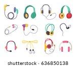 headphones vector set music... | Shutterstock .eps vector #636850138