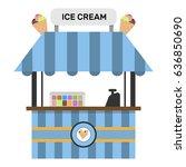 ice cream frozen food kiosk... | Shutterstock .eps vector #636850690
