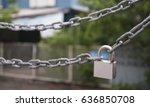 padlock metal chain isolated on ... | Shutterstock . vector #636850708