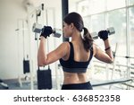 beautiful muscular fit woman...   Shutterstock . vector #636852358