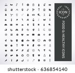 food and heath care icon set... | Shutterstock .eps vector #636854140