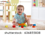 baby playing toys at home or... | Shutterstock . vector #636855838