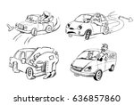 funny sketches of people and... | Shutterstock .eps vector #636857860