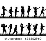 vector  silhouette of children  ... | Shutterstock .eps vector #636862960