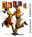 woman and man dancing swing  ... | Shutterstock .eps vector #636864760