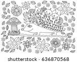 monochrome ink drawing. cute... | Shutterstock .eps vector #636870568