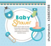 baby shower card | Shutterstock .eps vector #636883588