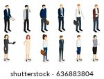 business people set isometric... | Shutterstock .eps vector #636883804