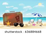 suitcase and sun glasses on sea ... | Shutterstock .eps vector #636884668
