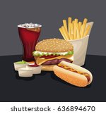 burger hot dog french fries... | Shutterstock .eps vector #636894670