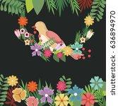 bird flowers spring greeting... | Shutterstock .eps vector #636894970