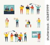 news broadcast people vector... | Shutterstock .eps vector #636895999