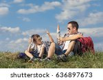 father and son sitting in the... | Shutterstock . vector #636897673