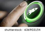 man finger pressing an boost... | Shutterstock . vector #636903154