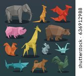 animals origami set of wild... | Shutterstock .eps vector #636912988