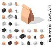 different box vector isometric... | Shutterstock .eps vector #636913174