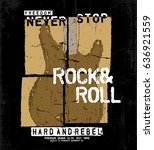 rock music concept tee print... | Shutterstock .eps vector #636921559