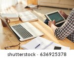 student checking his timetable...   Shutterstock . vector #636925378