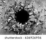 dark cracked broken wall in... | Shutterstock . vector #636926956