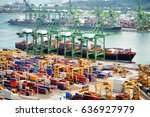 view of a container terminal at ... | Shutterstock . vector #636927979
