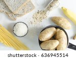 carbohydrates sources on white... | Shutterstock . vector #636945514