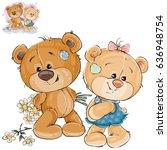 vector illustration of a teddy... | Shutterstock .eps vector #636948754