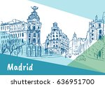 sketch of gran via street in... | Shutterstock . vector #636951700