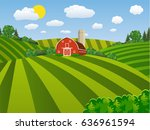 cartoon farm field green... | Shutterstock .eps vector #636961594