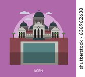 aceh city of indonesia... | Shutterstock .eps vector #636962638