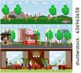 vector set of posters  banners... | Shutterstock .eps vector #636963658