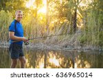 fisherman with a spinning rod... | Shutterstock . vector #636965014