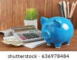 piggy bank  calculator ...   Shutterstock . vector #636978484