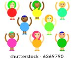 girls and boys with raised hands | Shutterstock . vector #6369790