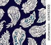 floral seamless pattern. doodle ... | Shutterstock .eps vector #636982300