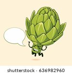 happy artichoke. food emoji | Shutterstock .eps vector #636982960
