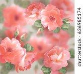 romantic floral background.... | Shutterstock .eps vector #636985174