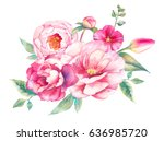 watercolor bouquet of flowers.... | Shutterstock . vector #636985720