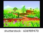 spring landscape morning of...   Shutterstock . vector #636989470
