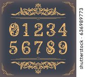 vintage stylized numbers with... | Shutterstock .eps vector #636989773