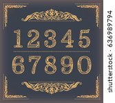 vintage stylized numbers with... | Shutterstock .eps vector #636989794
